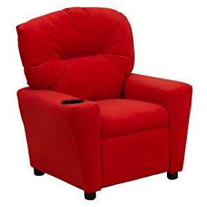 Ordinaire Contemporary Red Microfiber Kids Recliner With Cup Holder